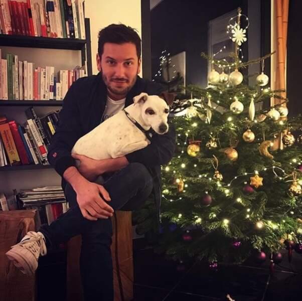 Maxime Guény, qui a fêté Noël avec son chien...