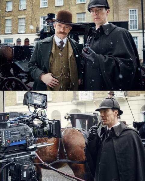 Sherlock et Watson sur le tournage de l'effroyable mariée