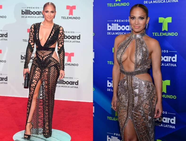 Dans une version très aérée, Jennifer Lopez en robe façon filet de pêche.
