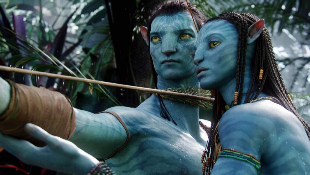 Avec un avatar hybride  : Zoe Saldana et Sam Worthington dans Avatar (2010)