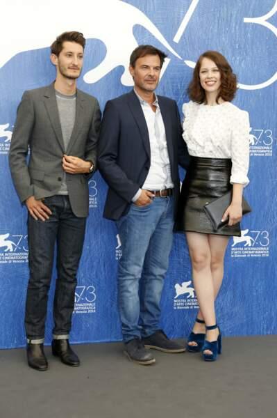 Pierre Niney, Francois Ozon et Paula Beer, à Venise pour le film Frantz