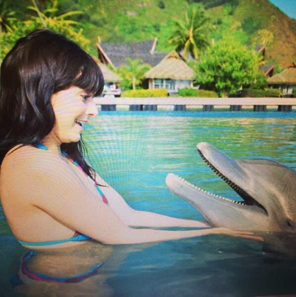 Bisous avec les dauphins...