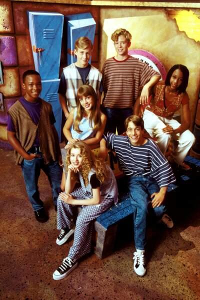 Photo de groupe en 1993 dans l'émission télévisée Mickey Mouse Club avec Gosling, Timberlake, Aguilera et Spears.
