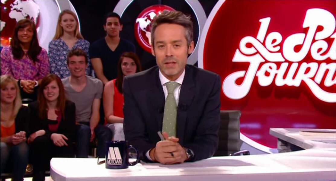 """Dans la catégorie """"j'ai osé la cravate"""" : Yann Barthès, vert pois cassé et petit pois blanc. Audacieux"""