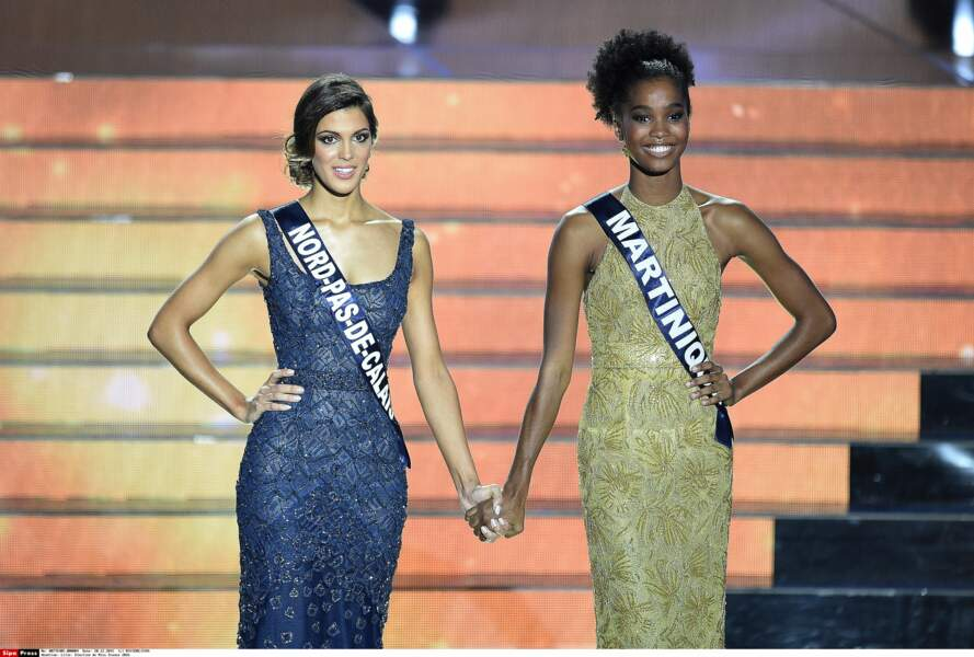 Miss Nord-Pas-de-Calais, Iris Mittenaere, et Miss Martinique, Morgane Edvige, sont les dernières en lice