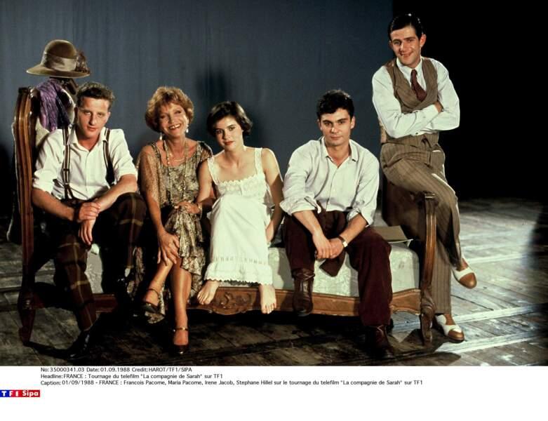 """Sur le tournage du téléfilm """"La compagnie de Sarah"""" (TF1, 1988) avec son fils François et Irène Jacob, entre autres"""