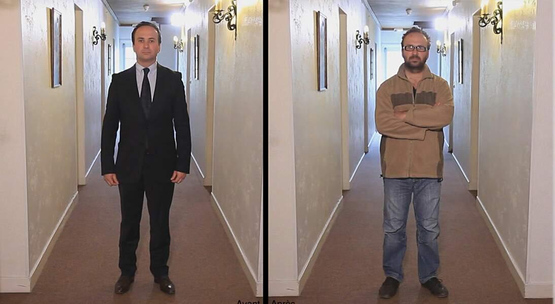 Grégory Fourey, président des boulangeries Firmin, avant et après son relooking