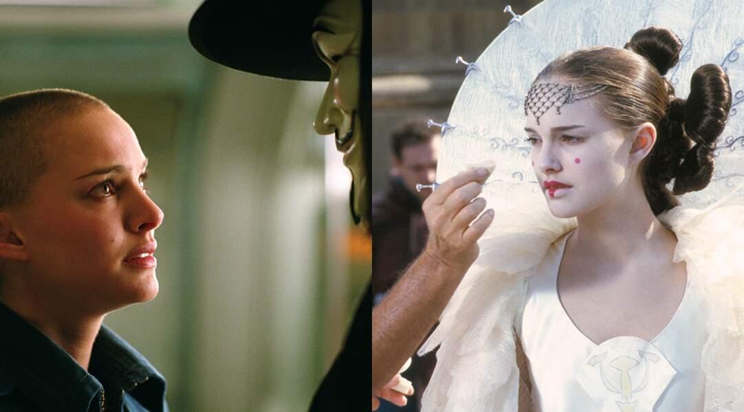 Natalie Portman dans V pour Vendetta (2006) et Star Wars : la menace fantôme (1999)