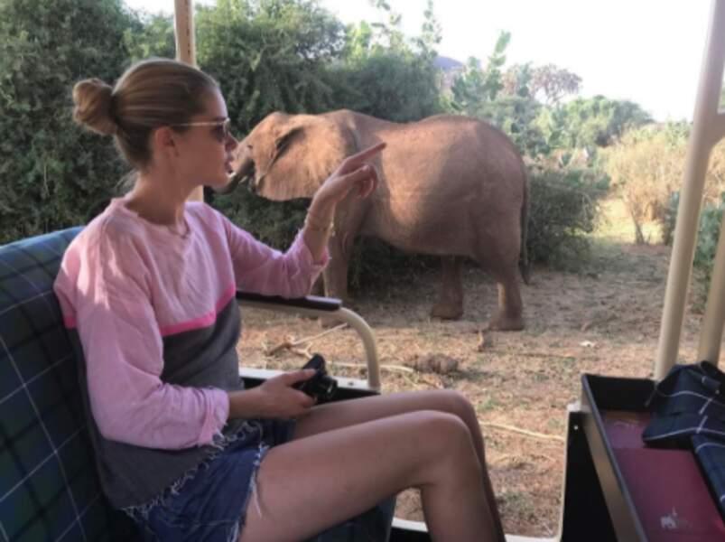 Cette veinarde de Doutzen Kroes a vu des éléphants au Kenya.