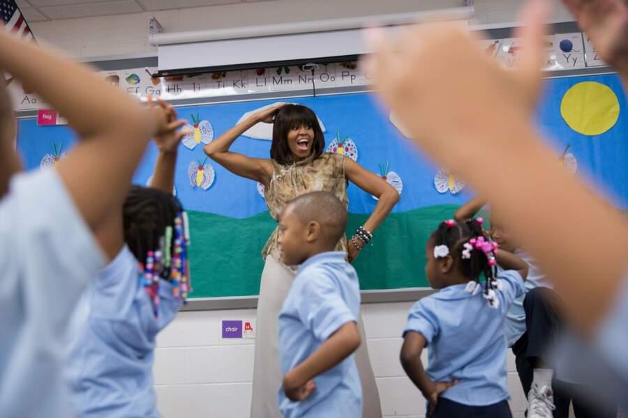 Michelle aussi s'est engagée auprès des enfants