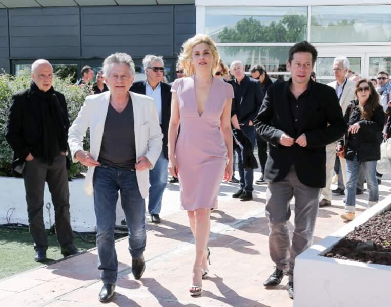 Roman Polanski, Emmanuelle Seigner et Mathieu Amalric arrivent au festival d'un pas décidé !