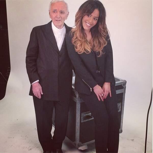 Et on termine avec Amel Bent et le grand Charles Aznavour. Respect !