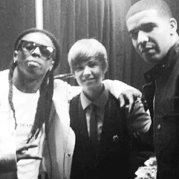 Ici, il est en compagnie de Lil' Wayne et Drake