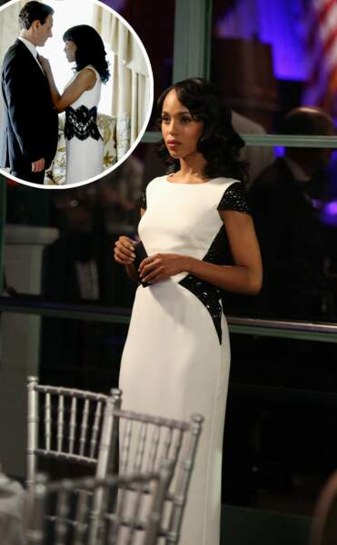 Pour Lyn Paolo, le noir et le blanc représentent les conflits intérieurs d'Olivia (robe Escada)
