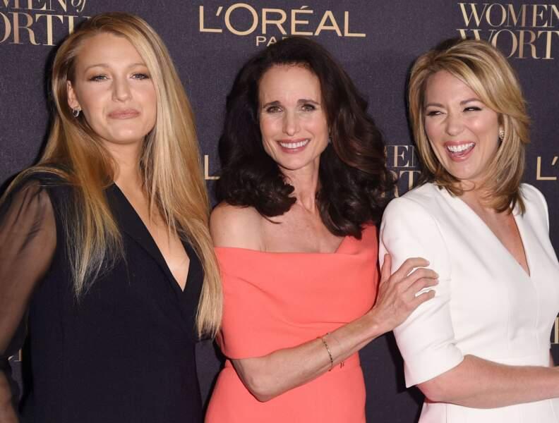 Une belle brochette : Blake Lively, Andie MacDowell et Brooke Baldwin, journaliste à CNN.