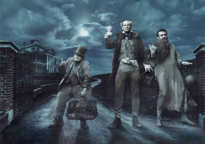 Les acteurs Jack Black, Will Ferrel et Jason Segel : les trois fantômes de la Maison Hantée, attraction culte.