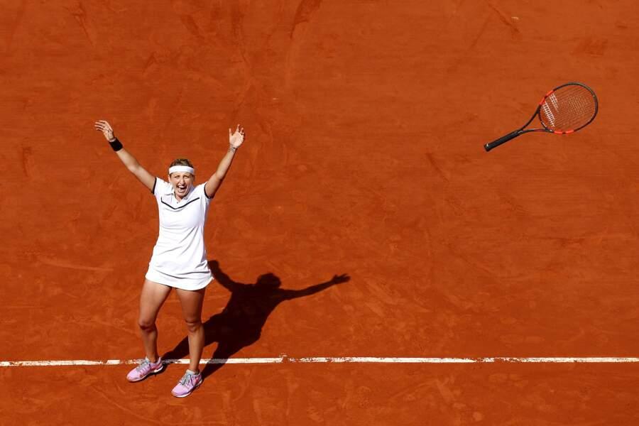 La Suissesse Timea Bacsinszky laisse exploser sa joie d'être en demi-finale