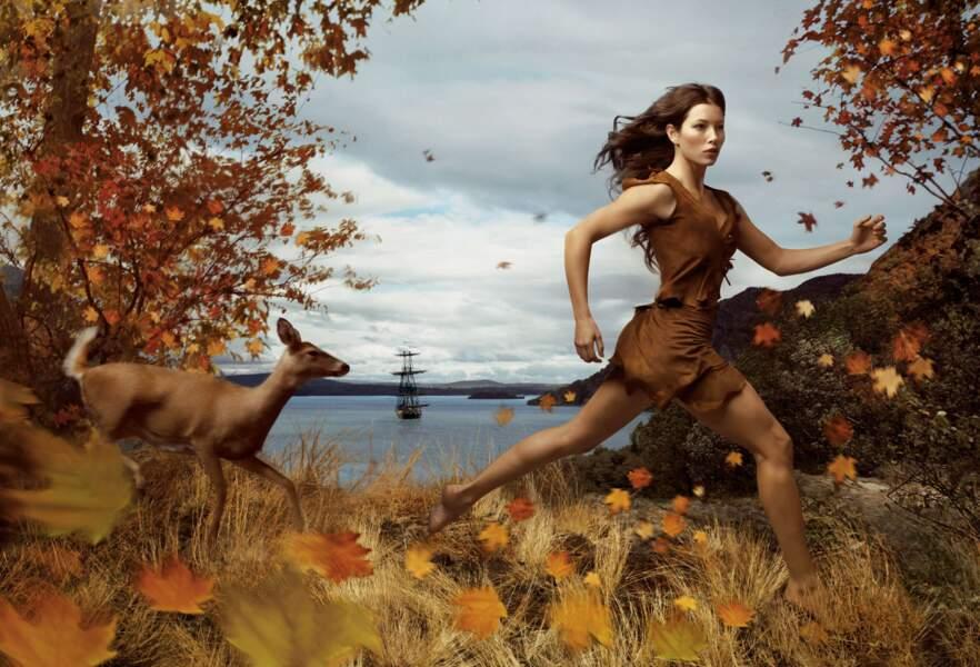 Jessica Biel en Pocahontas.