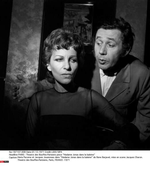 """Avec Jacques Jouanneau dans """"Madame Jonas dans la baleine"""" au Théâtre des Bouffes-Parisiens en 1971"""