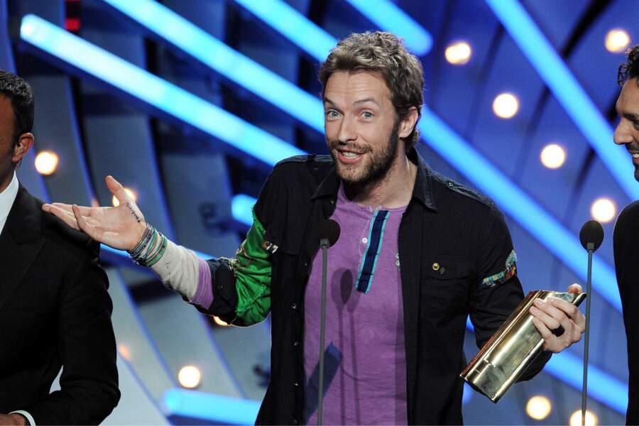 2009, Chris Martin le leader du groupe Coldplay, tout sourire