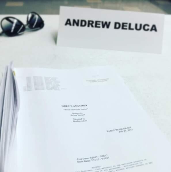 Première lecture de scénario pour Giacomo Gianniotti (Andrew)