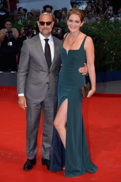 Stanley Tucci et sa femme Felicity Blunt sur le tapis rouge à la première de Spotlight