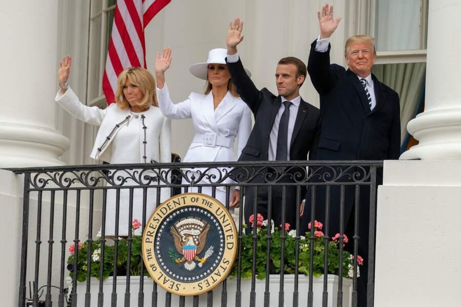 Pour leur deuxième jour aux États-Unis, Brigitte et Emmanuel Macron ont assisté à une cérémonie à la Maison-Blanche