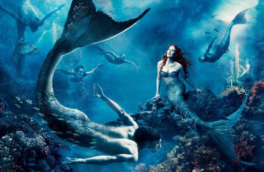 Julianna Moore en Ariel et le nageur Michael Phelps en homme-sirène.