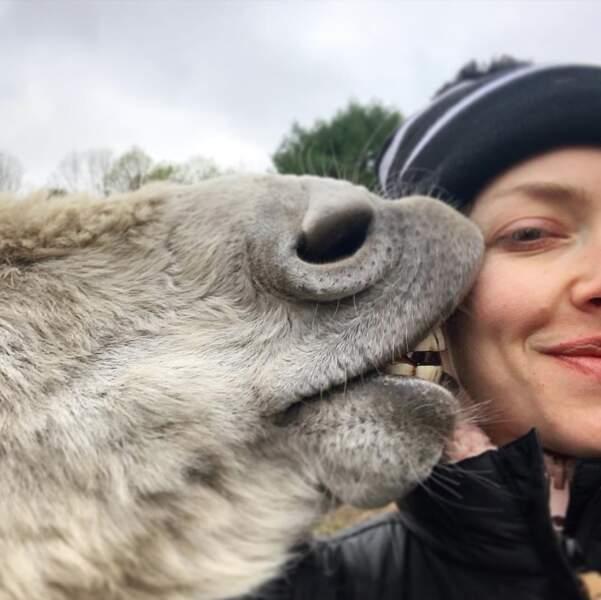 Amanda Seyfried a reçu un gros bisou bien poilu.