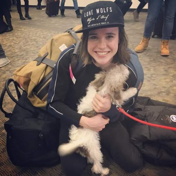 Une photo pour avoir le sourire pour le week-end : Ellen Page qui retrouve son chien. LOVE.