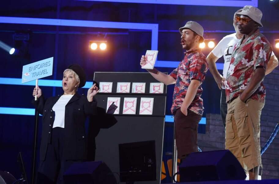 Mimie Mathy, Grégoire et MC Solaar. Sympas, les chemises à fleurs