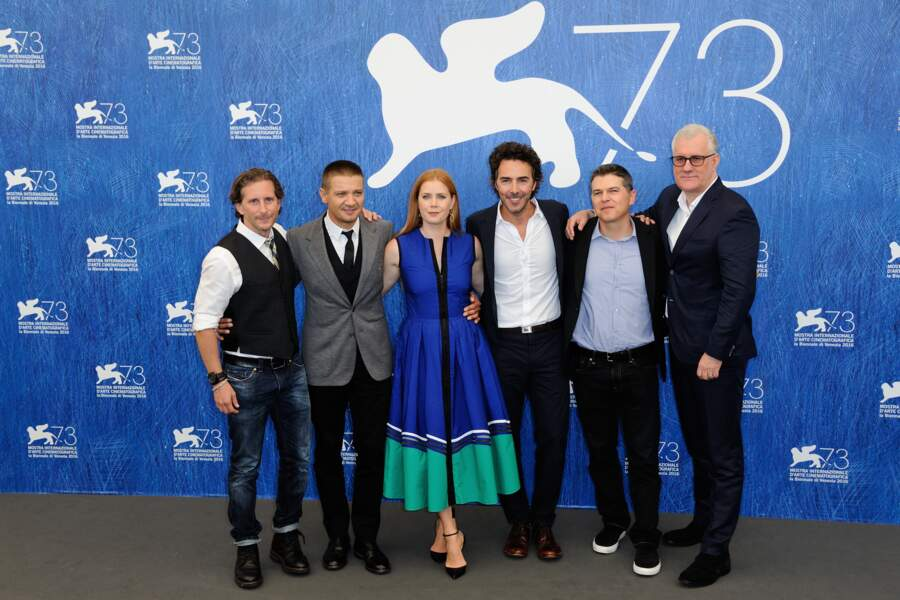 L'équipe du film Premier contact, porté par Jeremy Renner et Amy Adams