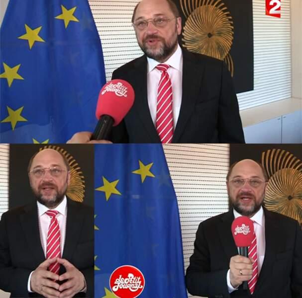 And the winner is : Martin Schultz, car on félicite l'effort d'être raccord avec le logo de France 2 et le micro