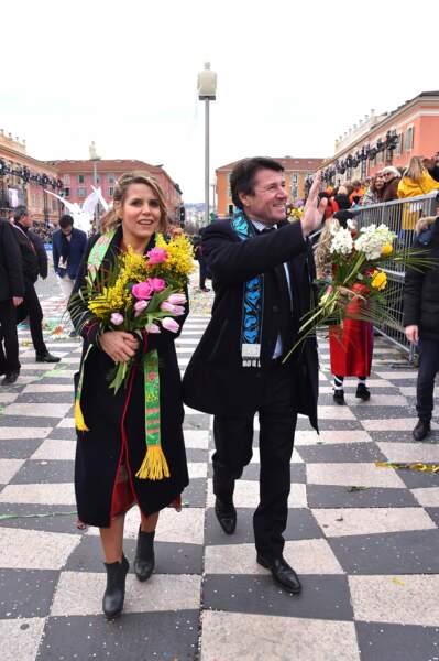 Christian Estrosi et son épouse Laura Tenoudji ont assisté au Carnaval de Nice