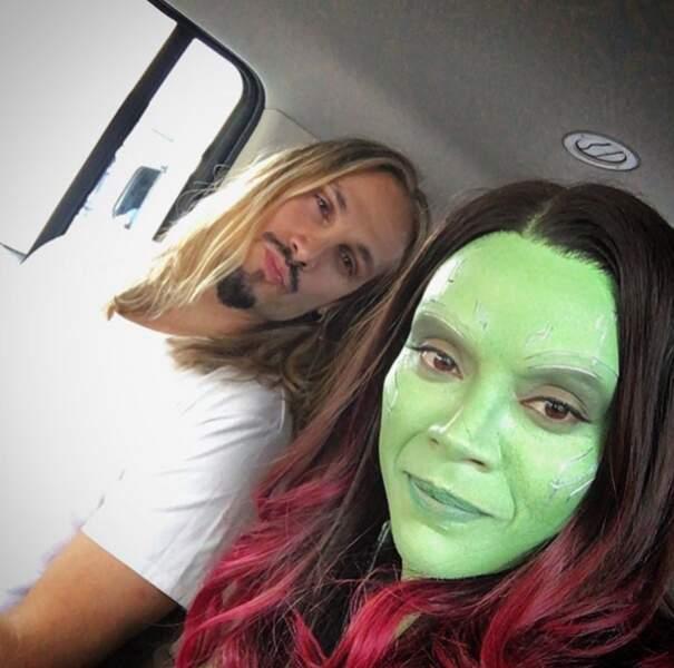 Le mari de Zoe Saldana lui a rendu visite sur le tournage du nouveau Gardiens de la Galaxie.