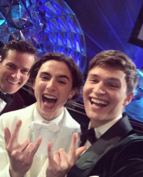 Rock the Oscars ! Armie Hammer, Thimothée Chalamet et Ansel Elgort sont au taquet