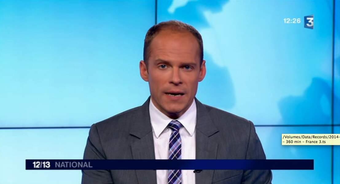 """Dans la catégorie """"j'ai osé la cravate"""" : Florian Ringuedé (France 2), tweed carreaux revisité"""