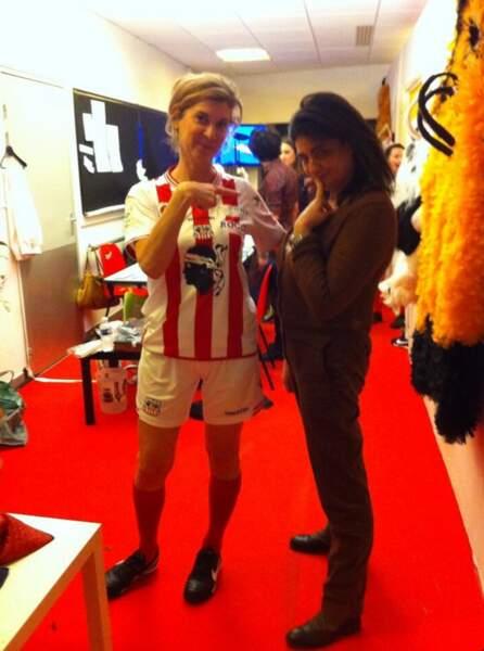 Michèle Laroque déguisée en footballeur pour Les Enfoirés 2014