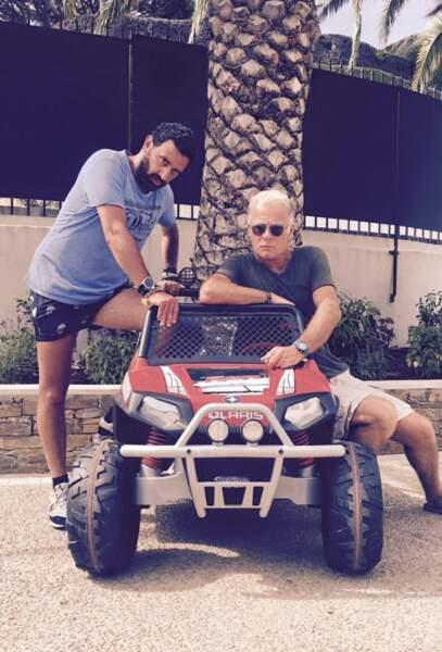 En vacances, le patron de TPMP a aussi croisé Franck Dubosc pour faire un tour de mini 4x4.