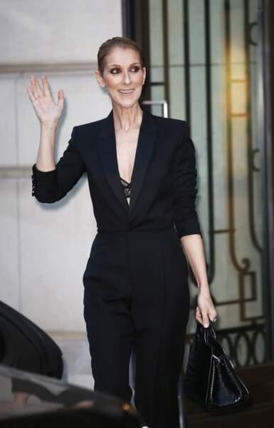 Celine Dion à la sortie de l'Hôtel Royal Monceau, à Paris