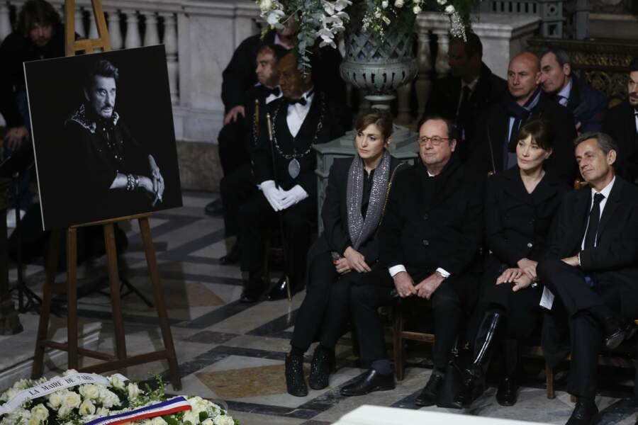 Ils étaient installés à la même rangée que son successeur François Hollande et sa compagne, l'actrice Julie Gayet.