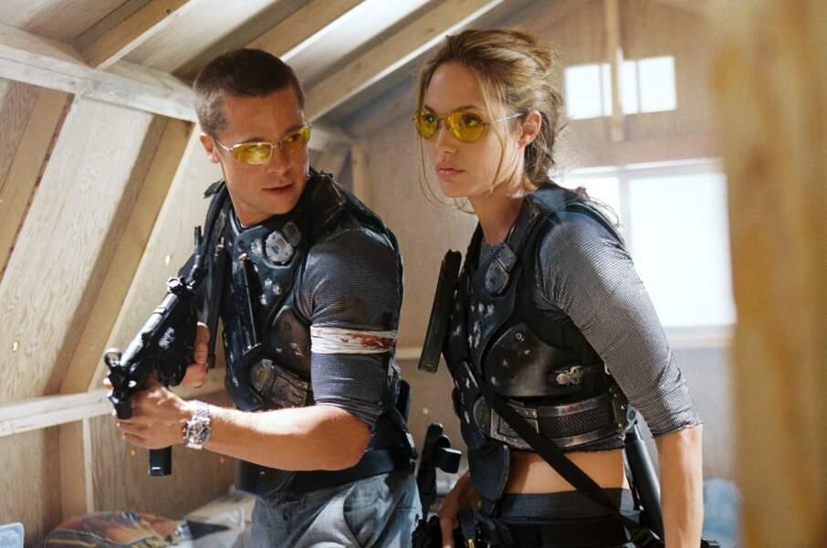 Avec Brad Pitt dans Mr & Mrs Smith (2005), compagnon à l'écran et à la ville