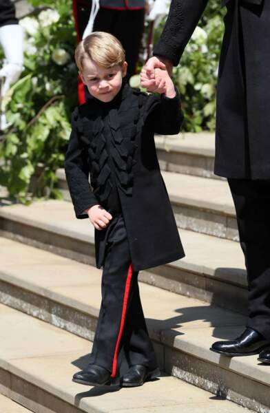 Tout de noir vêtu pour le mariage de son oncle, le prince Harry, et Meghan Markle, le 19 mai 2018