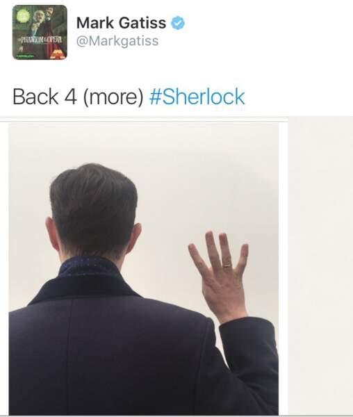 """L'annonce de Mark Gatiss (Mycroft Holmes) sur Twitter : """"de retour pour une 4ème saison #Sherlock"""""""