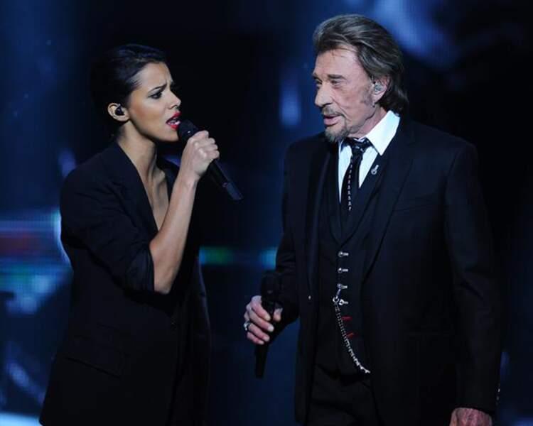 """Après son mariage, Shy'm a chanté en duo avec Johnny Hallyday le tube """"Ma gueule""""."""