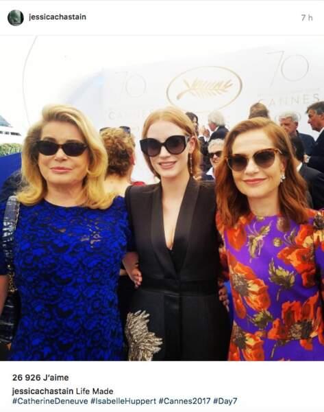 Jessica Chastain,fan de Catherine Deneuve et Isabelle Huppert, ne va pas oublier cette montée des marches de si tôt