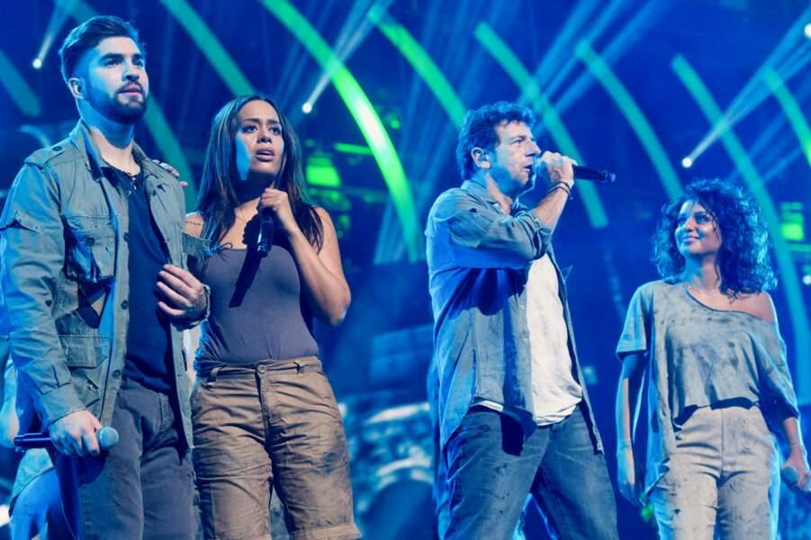 """Kendji Girac, Amel Bent, Patrick Bruel et Tal lors de """"Musique"""", le show 2018 des Enfoirés"""