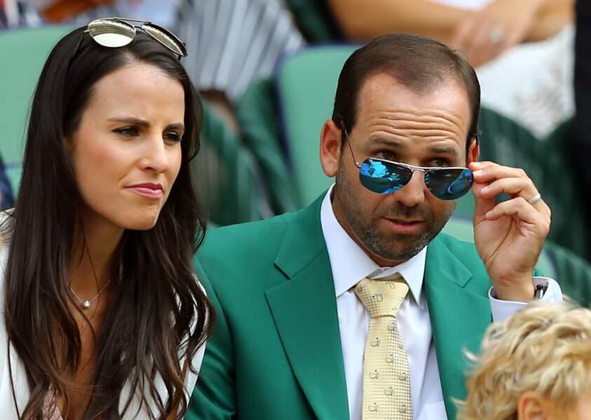 Le golfeur Sergio Garcia et sa compagne Angela Akins n'ont raté aucune miette des matches