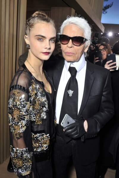 Cara Delevingne et Karl Lagerfeld