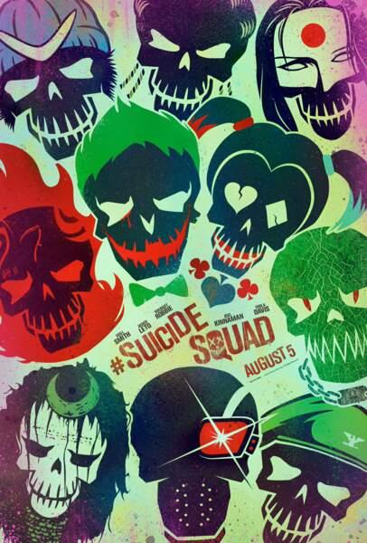 Voici la nouvelle affiche du film Suicide Squad ! Les méchants, façon têtes de mort !